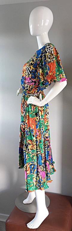 ff799802d7 Amazing Vintage Diane Freis Psychedelic Colorful Bohemian Boho Dress For  Sale 1