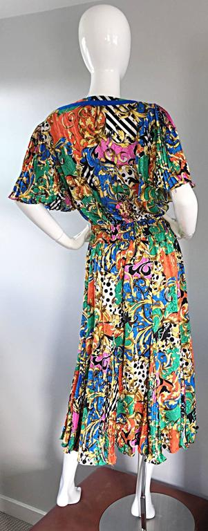 Amazing Vintage Diane Freis Psychedelic Colorful Bohemian Boho Dress In Excellent Condition For Sale In Chicago, IL