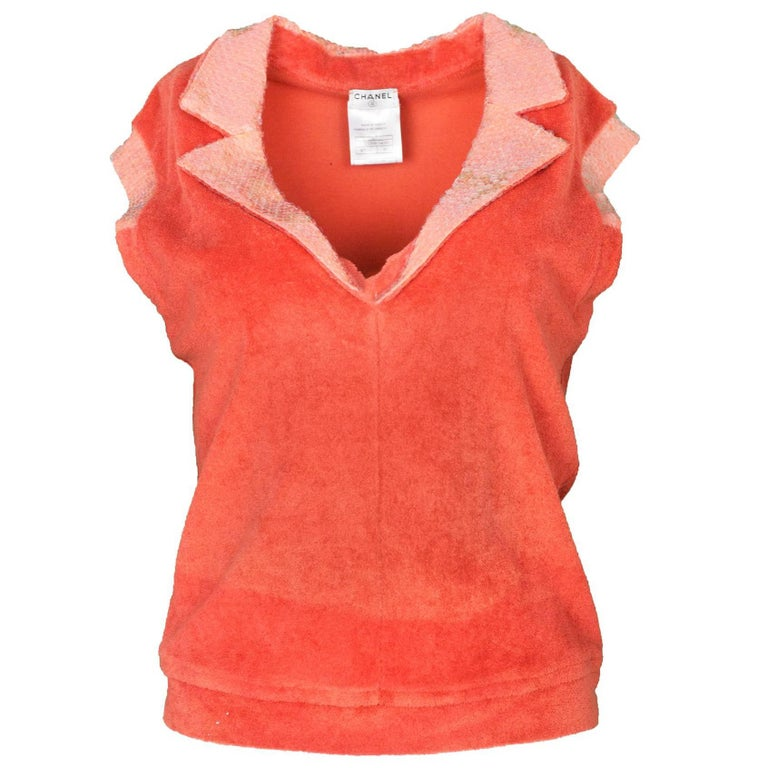 Chanel Coral Terrycloth Sleeveless Top sz FR40