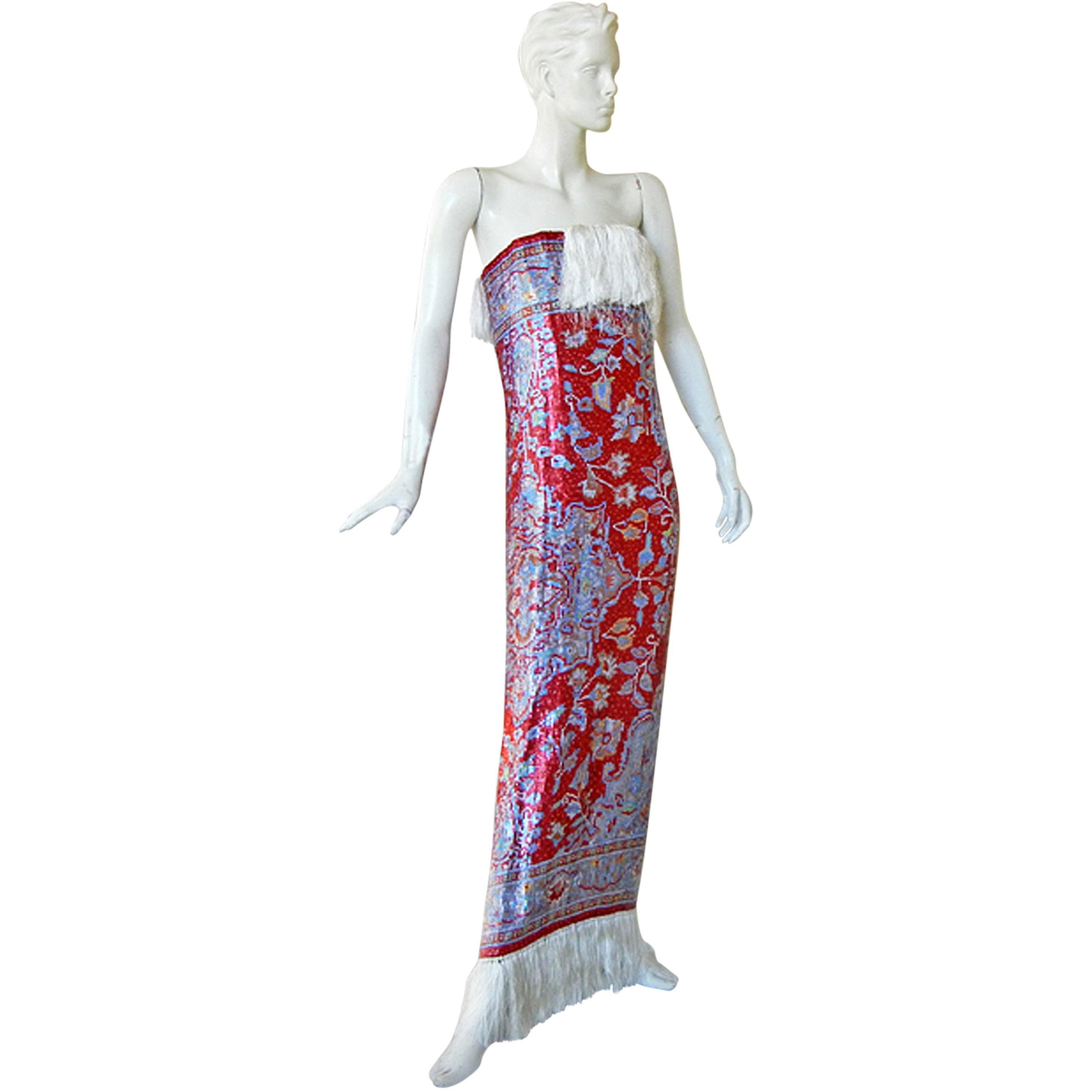 Maison Margiela Rare Beaded Tapestry Runway Dress Gown   New