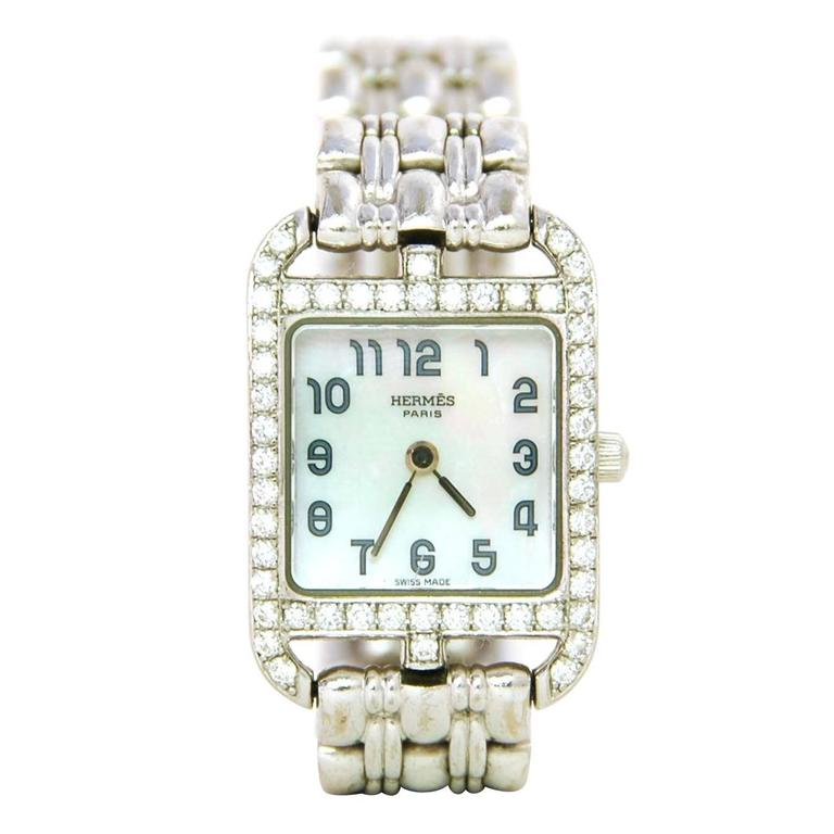 Hermes Lady's White Gold and Diamond Cape Cod PM Wristwatch 1