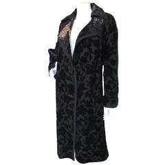 2004 Lanvin Black Sparkly Floral Print Burnout Oversize Coat &Rhinestone Detail