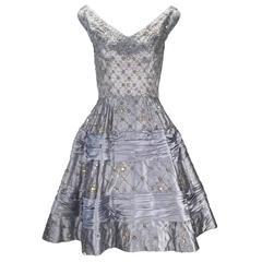 "1950s Dusty Blue Satin ""New Look"" Rhinestone Evening Dress"