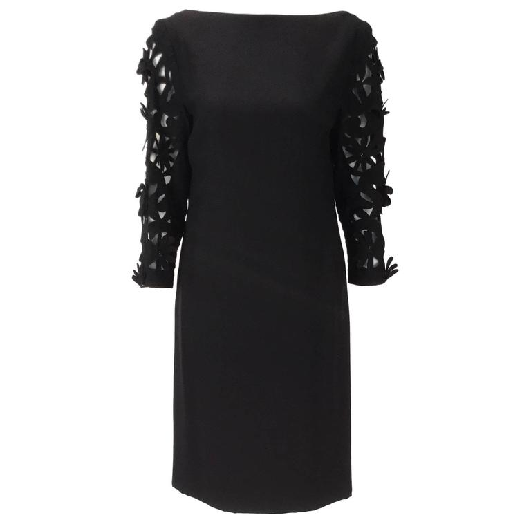 1970s Renato Balestra  Black  Dress with Floral Cutout Sleeves