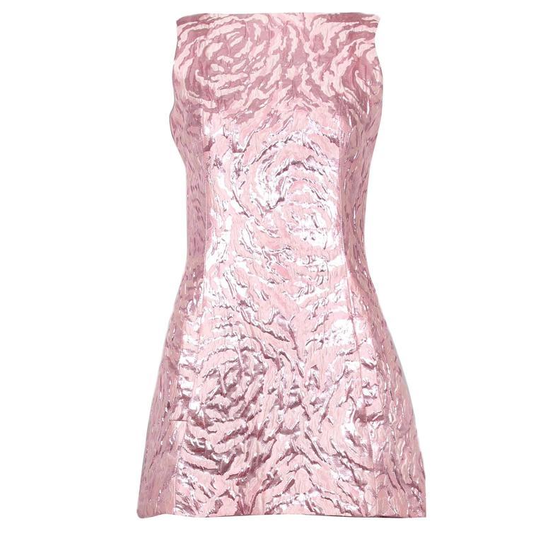 Balenciaga Sleeveless Metallic Pink Abstract Print Cocktail Mini Dress