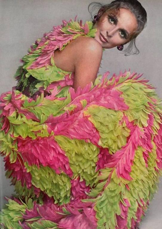 RARE GALANOS 1960s Pink and Green feather dress ( documented)  8