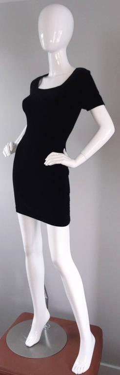 Sexy 1990s Vintage Michael Kors for Bergdorf Goodman Black Velvet Mini Dress LBD 7