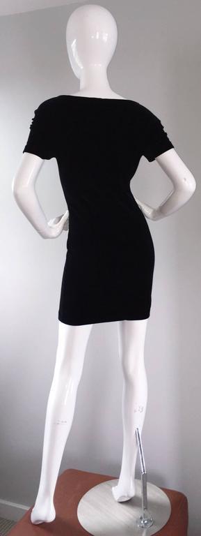 Sexy 1990s Vintage Michael Kors for Bergdorf Goodman Black Velvet Mini Dress LBD 9