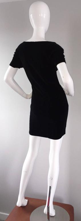 Sexy 1990s Vintage Michael Kors for Bergdorf Goodman Black Velvet Mini Dress LBD 3