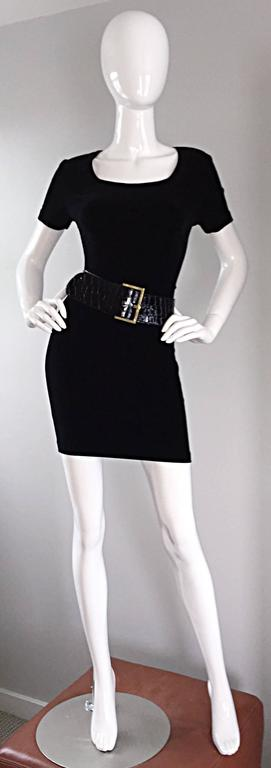 Sexy 1990s Vintage Michael Kors for Bergdorf Goodman Black Velvet Mini Dress LBD For Sale 1