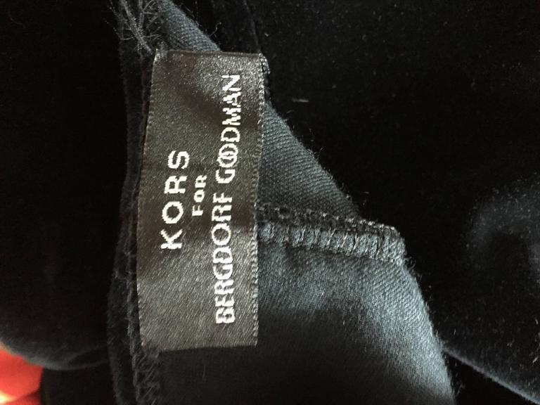 Sexy 1990s Vintage Michael Kors for Bergdorf Goodman Black Velvet Mini Dress LBD 8
