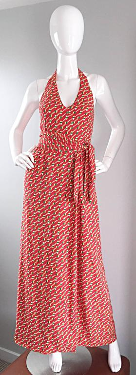 Women's Rare Vintage Geoffrey Beene ' Pill Print ' Halter Jersey Wrap Maxi Dress  For Sale