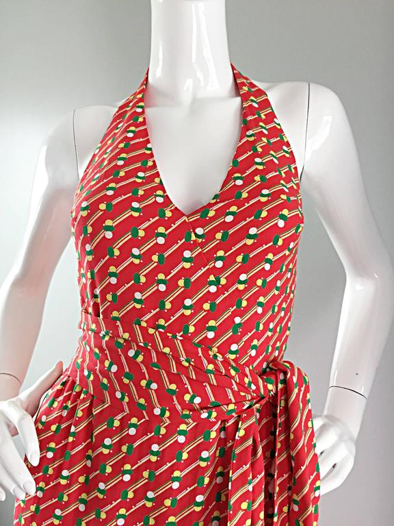 Rare Vintage Geoffrey Beene ' Pill Print ' Halter Jersey Wrap Maxi Dress  For Sale 2