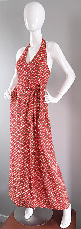 Rare Vintage Geoffrey Beene ' Pill Print ' Halter Jersey Wrap Maxi Dress  In Excellent Condition For Sale In Chicago, IL