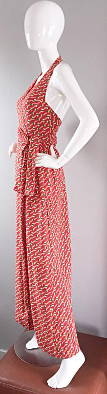 Rare Vintage Geoffrey Beene ' Pill Print ' Halter Jersey Wrap Maxi Dress  For Sale 4