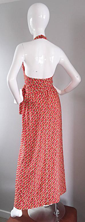 Pink Rare Vintage Geoffrey Beene ' Pill Print ' Halter Jersey Wrap Maxi Dress  For Sale