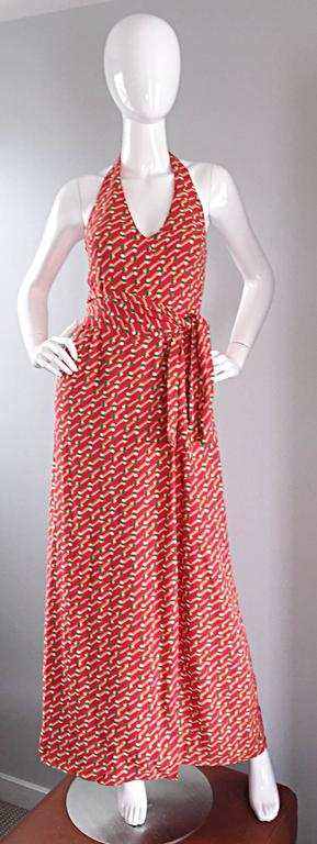 Rare Vintage Geoffrey Beene ' Pill Print ' Halter Jersey Wrap Maxi Dress  For Sale 1