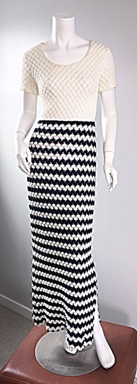 Vintage I. Magnin Navy Blue + White Crochet Nautical Striped Maxi Designer Dress For Sale 4