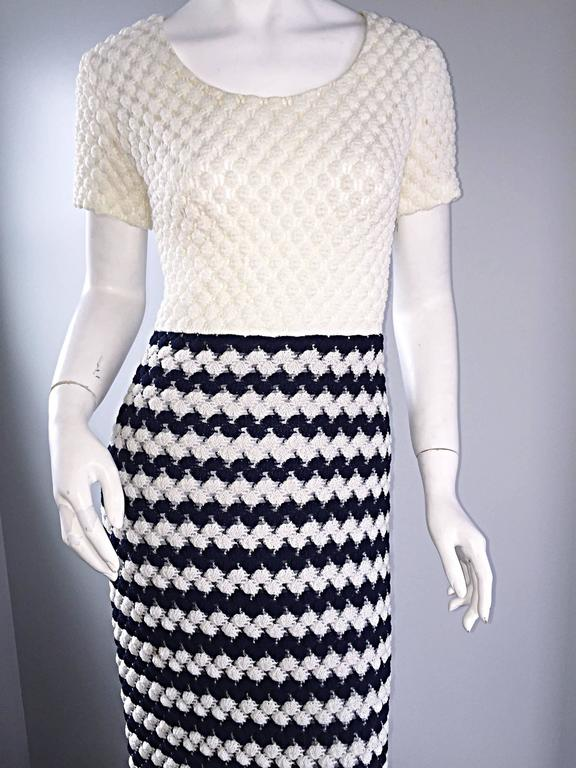 Vintage I. Magnin Navy Blue + White Crochet Nautical Striped Maxi Designer Dress For Sale 1