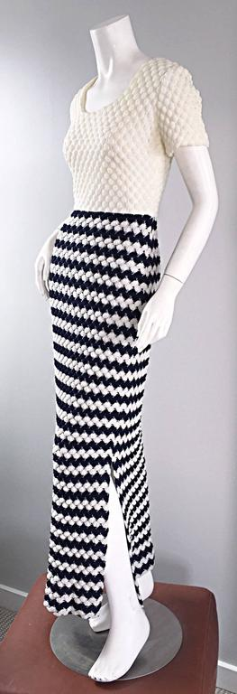 Adorable late 1960s / early 1970s I. Magnin crochet maxi dress! Navy blue and white/ivory crochet, which is fully lined. Striped skirt, with slits at both sides of the hem. Great fit! Perfect alone, or belted. Great with flats, sandals, wedges or