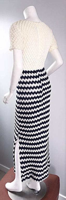 Women's Vintage I. Magnin Navy Blue + White Crochet Nautical Striped Maxi Designer Dress For Sale