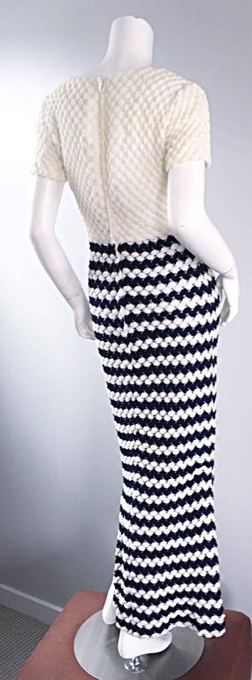Vintage I. Magnin Navy Blue + White Crochet Nautical Striped Maxi Designer Dress In Excellent Condition For Sale In San Francisco, CA