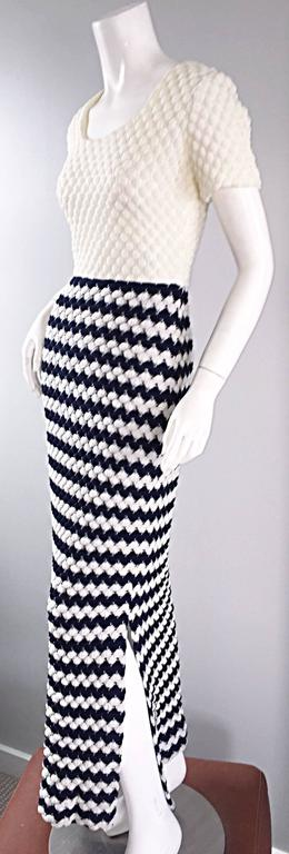 Gray Vintage I. Magnin Navy Blue + White Crochet Nautical Striped Maxi Designer Dress For Sale