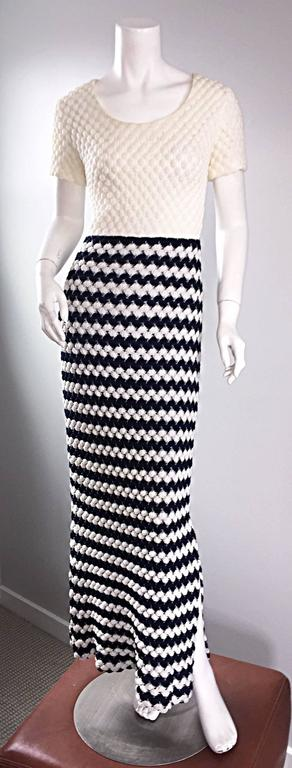 Vintage I. Magnin Navy Blue + White Crochet Nautical Striped Maxi Designer Dress For Sale 3