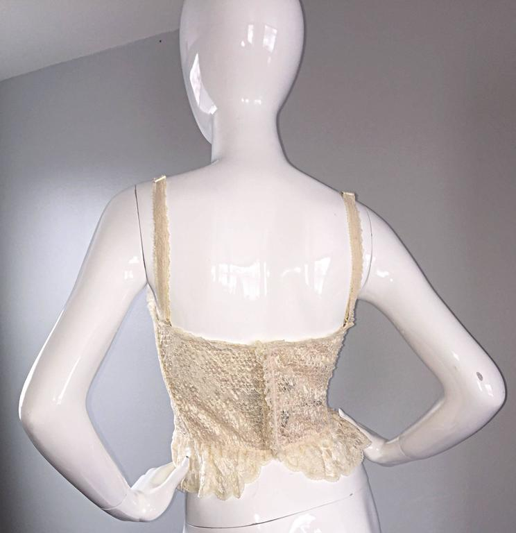 Women's Sexy Vintage Moschino Couture Ivory Lace Corset Bustier Top NWT Never Worn For Sale