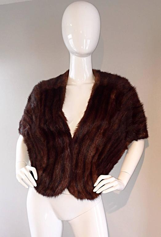 Beautiful 1950s 50s Vintage Beaver Fur Brown Shawl Stole Jacket 3