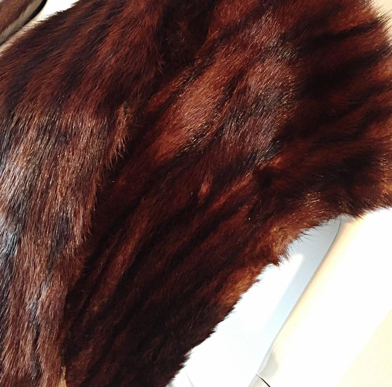 Beautiful 1950s 50s Vintage Beaver Fur Brown Shawl Stole Jacket 7