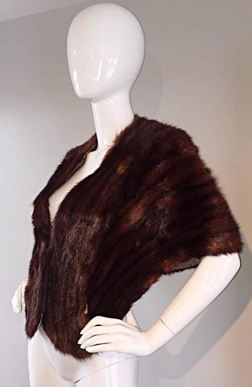 Beautiful 1950s 50s Vintage Beaver Fur Brown Shawl Stole Jacket 2