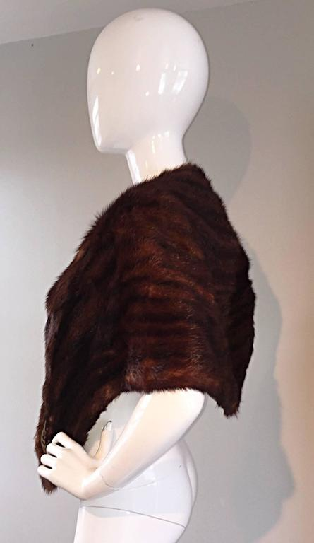 Beautiful 1950s 50s Vintage Beaver Fur Brown Shawl Stole Jacket 5