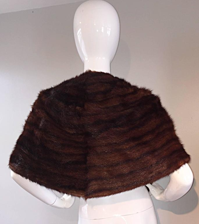 Beautiful 1950s 50s Vintage Beaver Fur Brown Shawl Stole Jacket 4