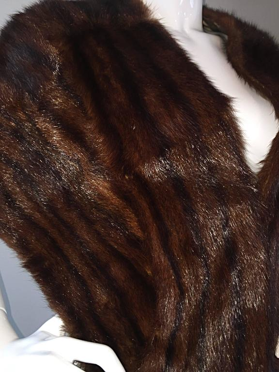 Beautiful 1950s 50s Vintage Beaver Fur Brown Shawl Stole Jacket 8