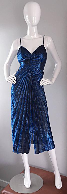 Vintage New Leaf Samir 1970s 70s Sexy Blue Metallic Pleated Disco Dress  In Excellent Condition For Sale In San Francisco, CA
