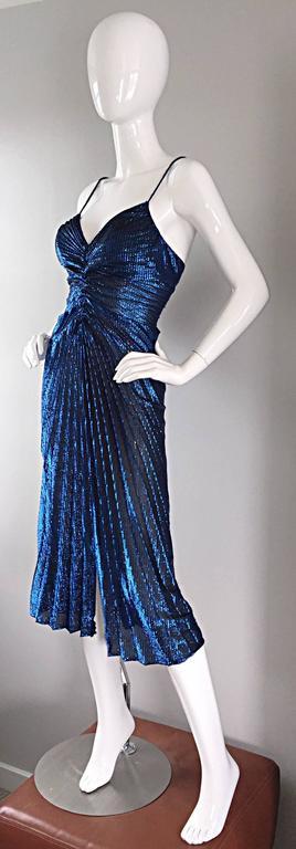 Vintage New Leaf Samir 1970s 70s Sexy Blue Metallic Pleated Disco Dress  For Sale 2