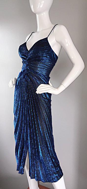 Women's Vintage New Leaf Samir 1970s 70s Sexy Blue Metallic Pleated Disco Dress  For Sale