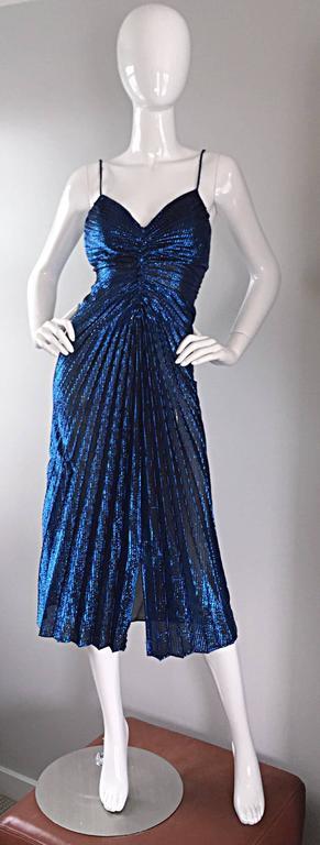 Vintage New Leaf Samir 1970s 70s Sexy Blue Metallic Pleated Disco Dress  5