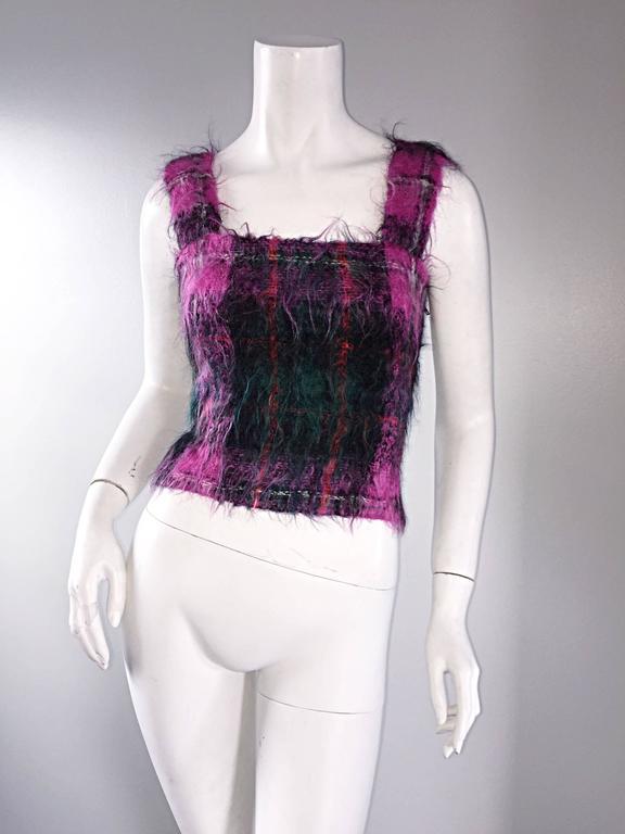 Women's Vintage Ralph Lauren ' Purple Label ' Mohair Tartan Plaid Pink Blouse Top Jumper For Sale