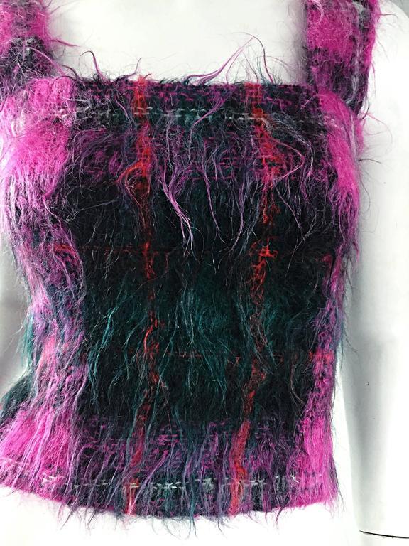 Vintage Ralph Lauren ' Purple Label ' Mohair Tartan Plaid Pink Blouse Top Jumper For Sale 3