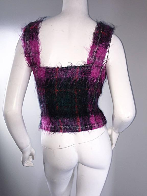 Vintage Ralph Lauren ' Purple Label ' Mohair Tartan Plaid Pink Blouse Top Jumper For Sale 1