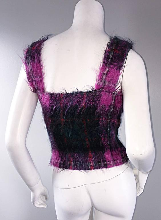Amazing vintage 1990s / 90s Ralph Lauren 'Purple Label' tartan plaid mohair top! Sleeveless style, with a fuchsia backdrop, with green and red tartan plaid. Unique color combination, with a great fit! Can easily transition from day to night. Perfect