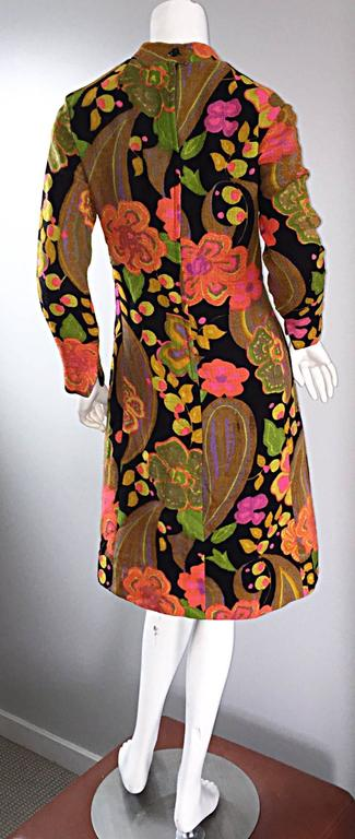 1960s 60s Psychedelic Flowers Paisley Colorful Print Mod