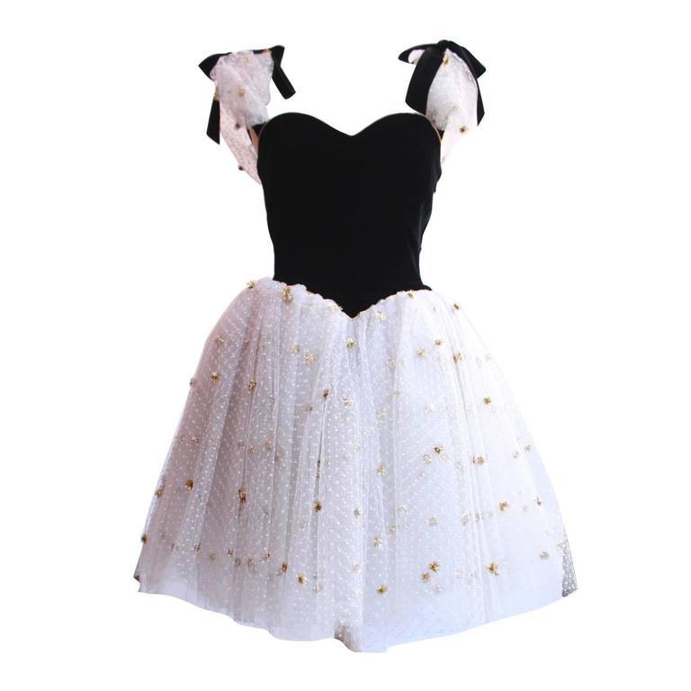 1980s Yves Saint Laurent White and Gold Tulle and Black Velvet Evening Dress 1