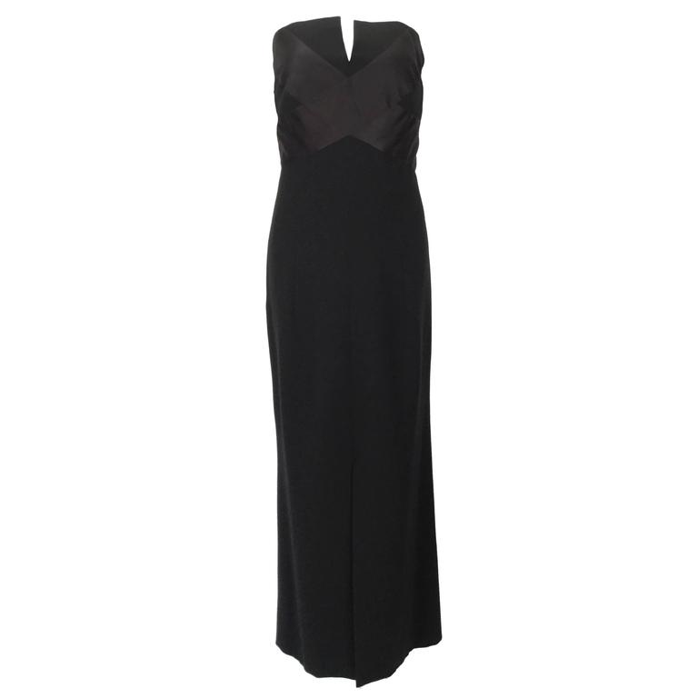1970s Chanel Black Strapless Wool Crepe & Silk Satin Full Figure Dress
