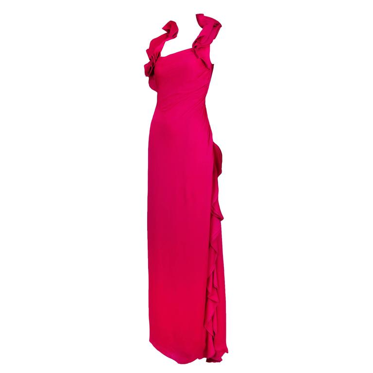 Valentino Fuchsia Silk Evening Gown Dress w/Asymmetric Collar & Ruffled Detail