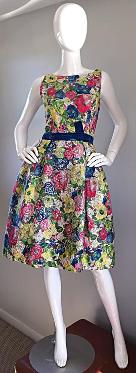 Exquisite 1950s 50s Demi Couture Floral Watercolor Vintage Silk Dress w/ Sequins 8
