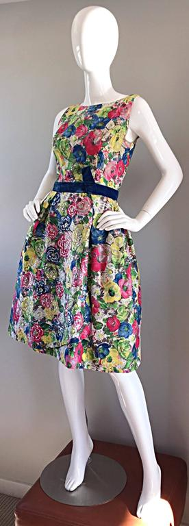 Exquisite 1950s 50s Demi Couture Floral Watercolor Vintage Silk Dress w/ Sequins 2