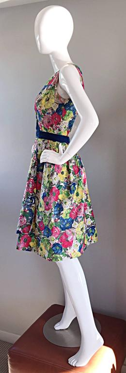 Exquisite 1950s 50s Demi Couture Floral Watercolor Vintage Silk Dress w/ Sequins 3